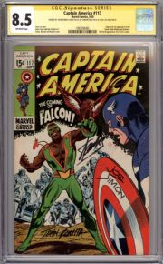 Captain America #117 CGC 8.5 Signature Series Signed Stan Lee Joe Simon Romita 1st Falcon Marvel